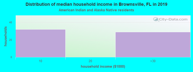 Brownsville household income for American Indian and Alaska Native householders