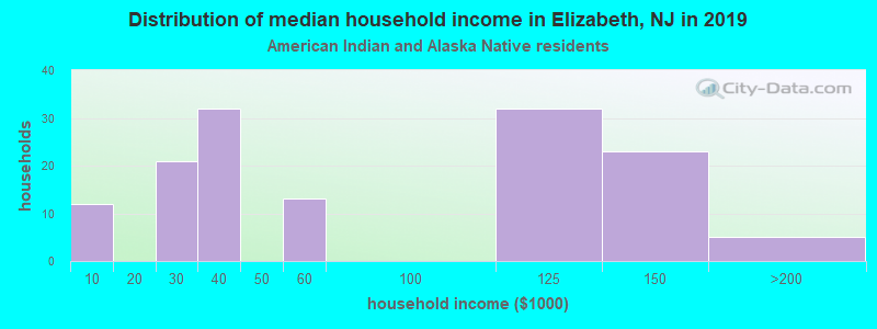 Elizabeth household income for American Indian and Alaska Native householders