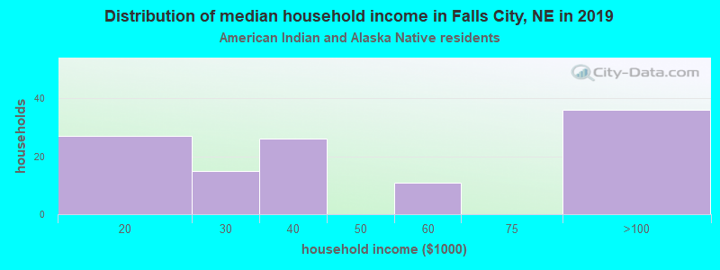 Falls City household income for American Indian and Alaska Native householders
