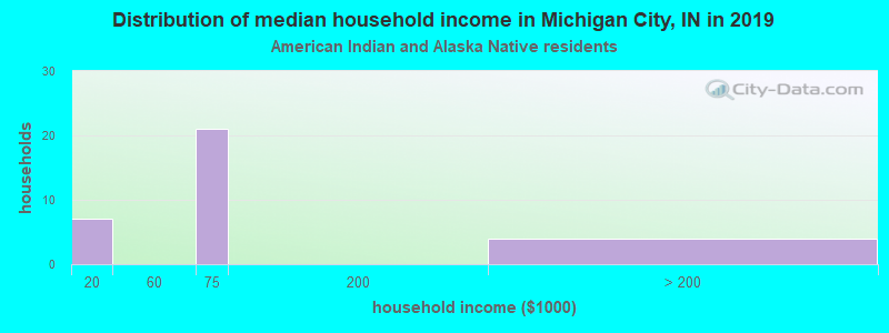 Michigan City household income for American Indian and Alaska Native householders