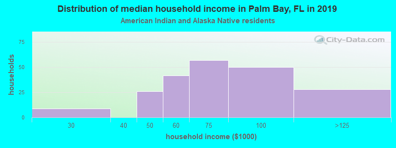 Palm Bay household income for American Indian and Alaska Native householders