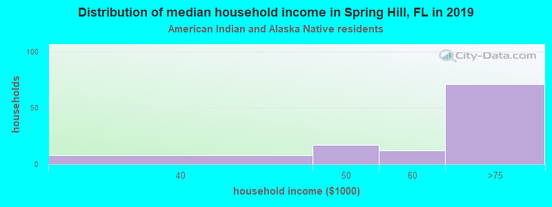 Spring Hill household income for American Indian and Alaska Native householders