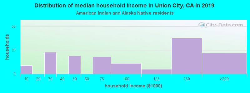 Union City household income for American Indian and Alaska Native householders
