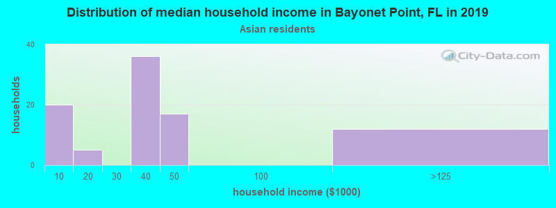 Bayonet Point household income for Asian householders