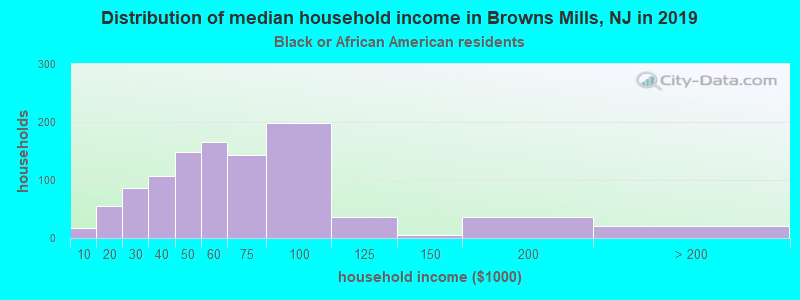 Browns Mills household income for Black householders