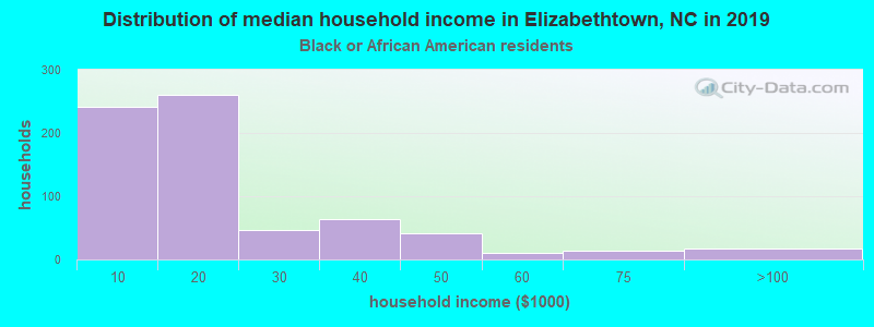 Elizabethtown household income for Black householders