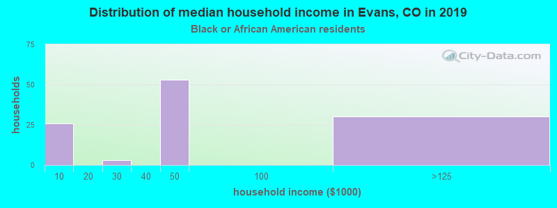 Evans household income for Black householders