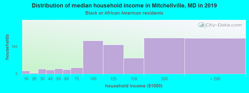 Mitchellville household income for Black householders
