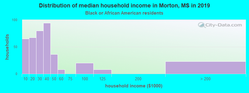 Morton household income for Black householders