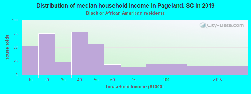 Pageland household income for Black householders