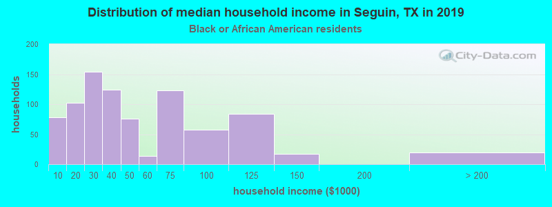 Seguin household income for Black householders