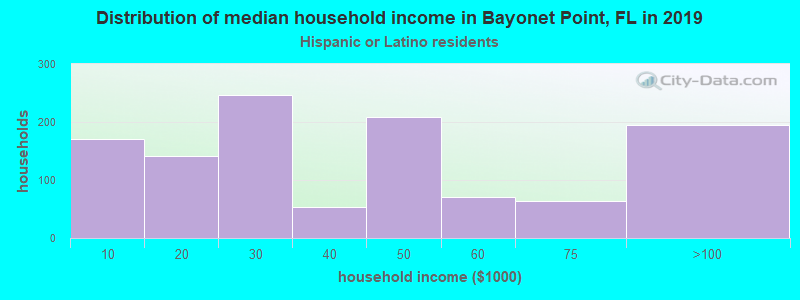 Bayonet Point household income for Hispanic or Latino race householders