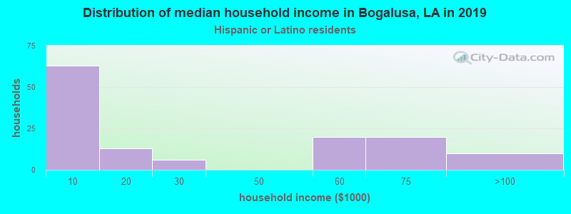 Bogalusa household income for Hispanic or Latino race householders