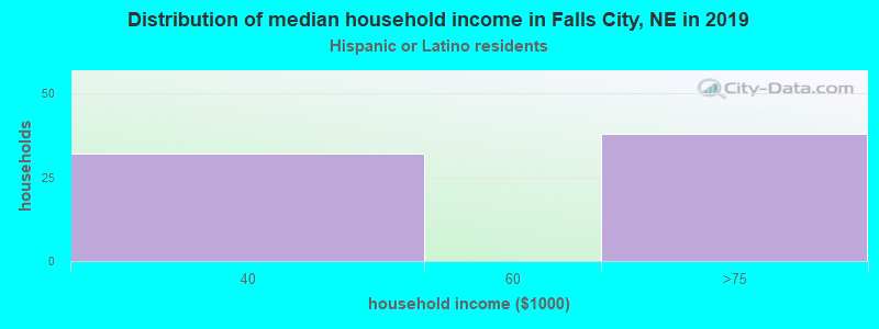 Falls City household income for Hispanic or Latino race householders
