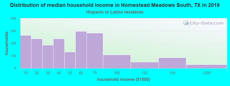 Homestead Meadows South household income for Hispanic or Latino race householders