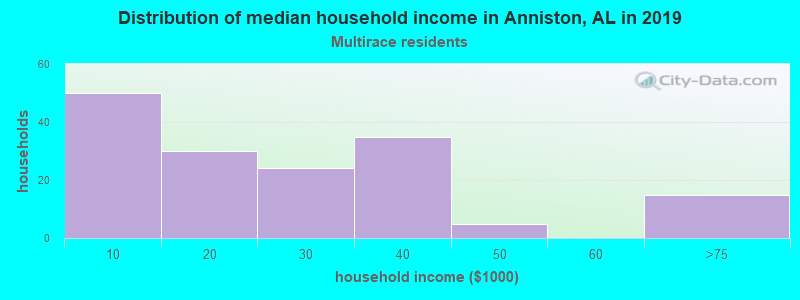 Anniston household income for Two or more races householders