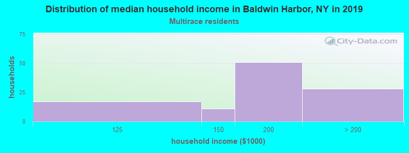 Baldwin Harbor household income for Two or more races householders