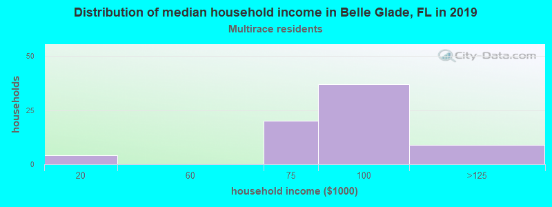 Belle Glade household income for Two or more races householders