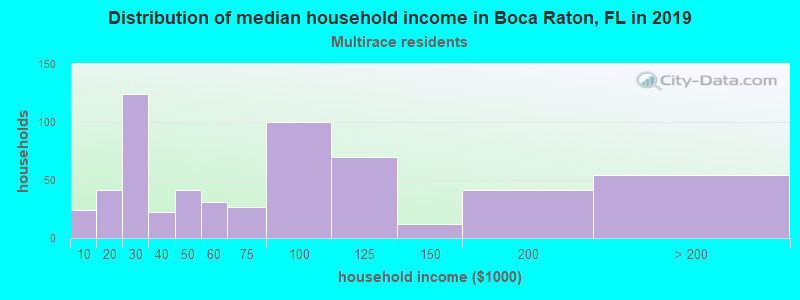 Boca Raton household income for Two or more races householders