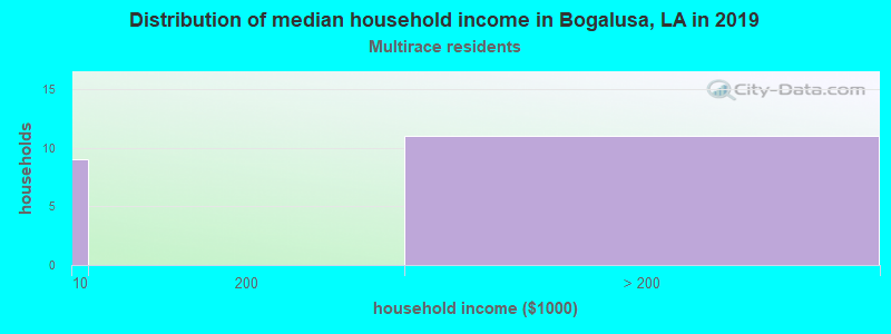 Bogalusa household income for Two or more races householders