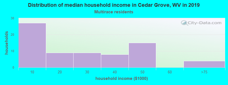 Cedar Grove household income for Two or more races householders