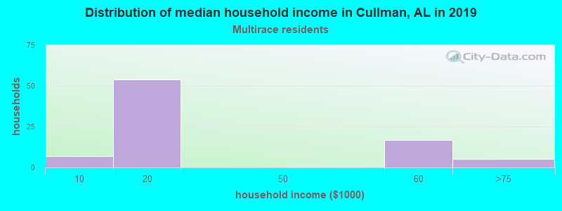 Cullman household income for Two or more races householders