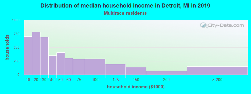 Detroit household income for Two or more races householders