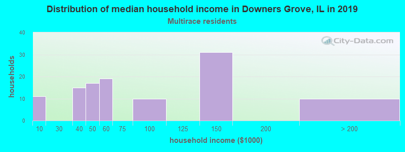 Downers Grove household income for Two or more races householders