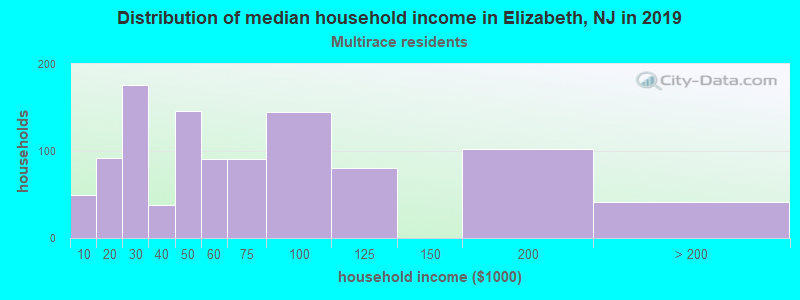 Elizabeth household income for Two or more races householders