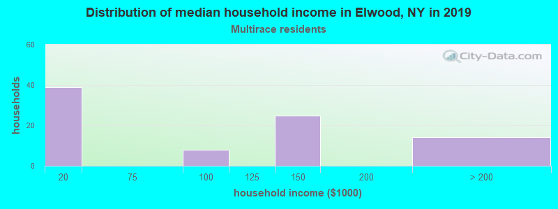 Elwood household income for Two or more races householders