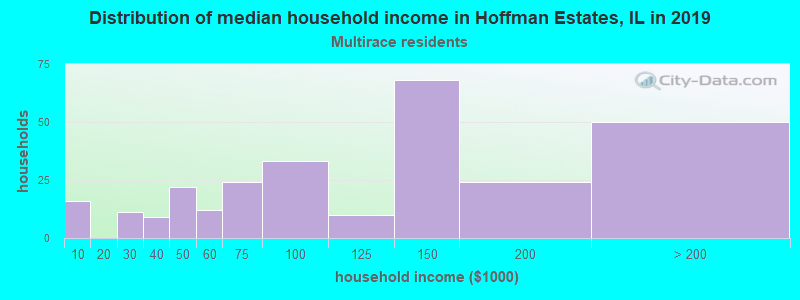 Hoffman Estates household income for Two or more races householders