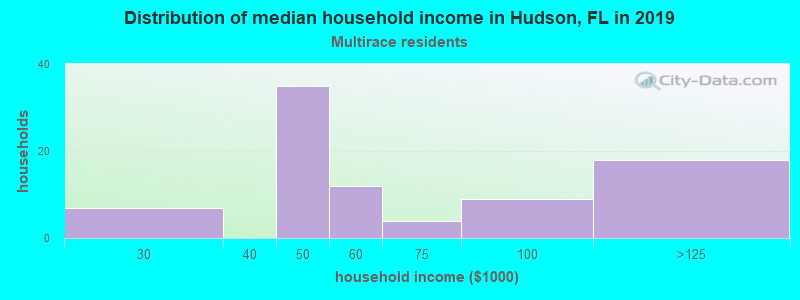 Hudson household income for Two or more races householders