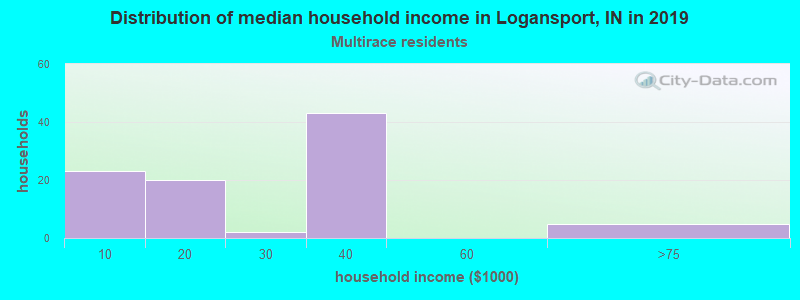 Logansport household income for Two or more races householders