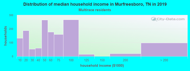 Murfreesboro household income for Two or more races householders