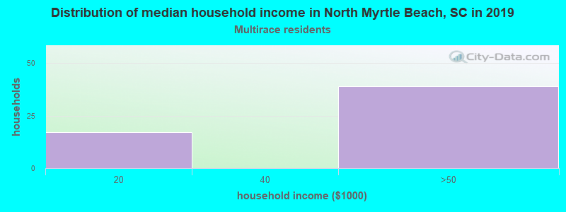 North Myrtle Beach household income for Two or more races householders