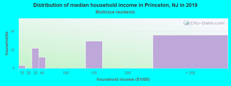 Princeton household income for Two or more races householders