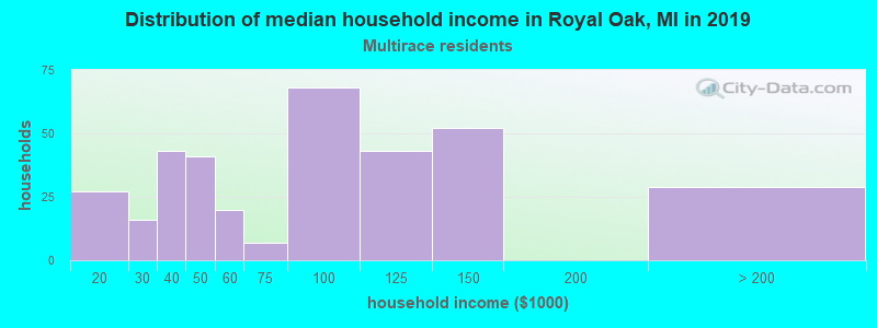 Royal Oak household income for Two or more races householders