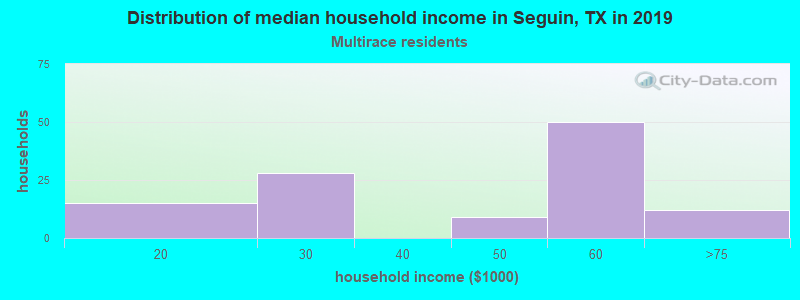 Seguin household income for Two or more races householders
