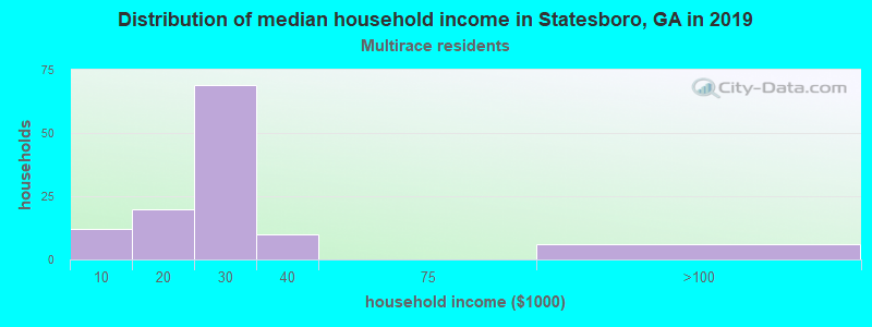 Statesboro household income for Two or more races householders