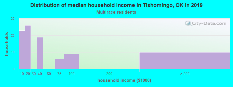 Tishomingo household income for Two or more races householders