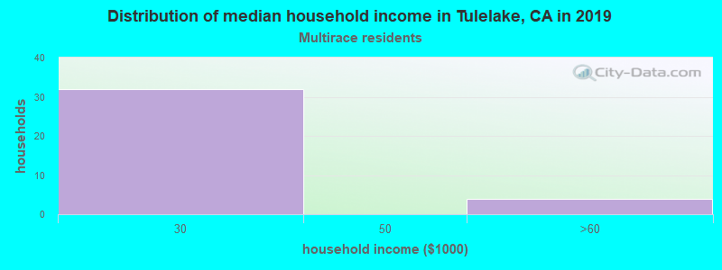 Tulelake household income for Two or more races householders