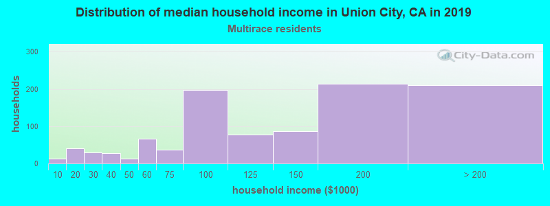 Union City household income for Two or more races householders