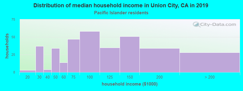Union City household income for Native Hawaiian and other Pacific Islander householders
