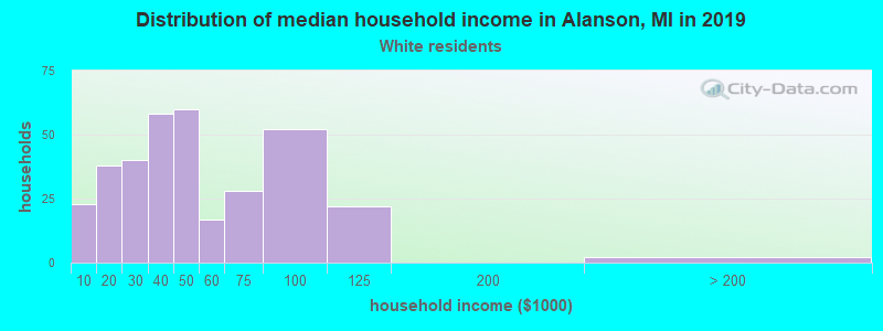 Alanson household income for White non-Hispanic householders