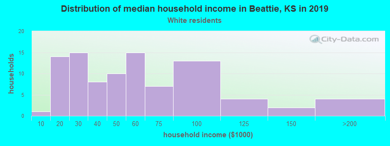 Beattie household income for White non-Hispanic householders