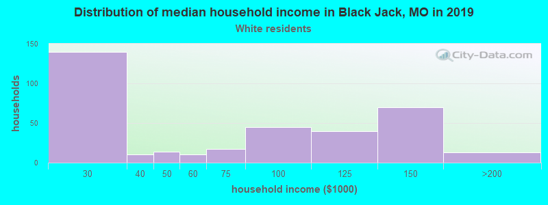 Black Jack household income for White non-Hispanic householders