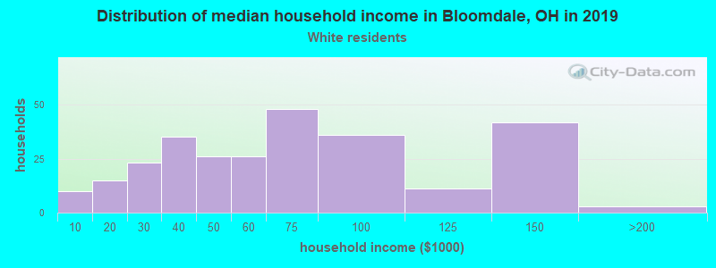 Bloomdale household income for White non-Hispanic householders