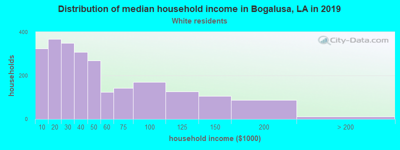 Bogalusa household income for White non-Hispanic householders