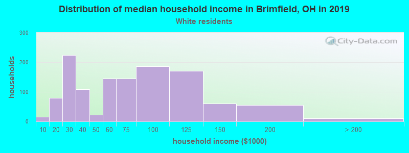 Brimfield household income for White non-Hispanic householders