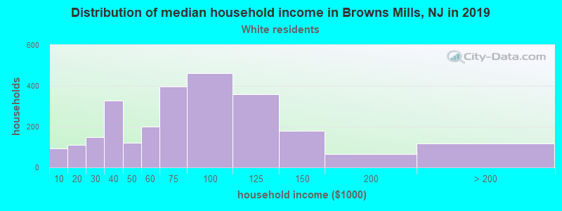 Browns Mills household income for White non-Hispanic householders